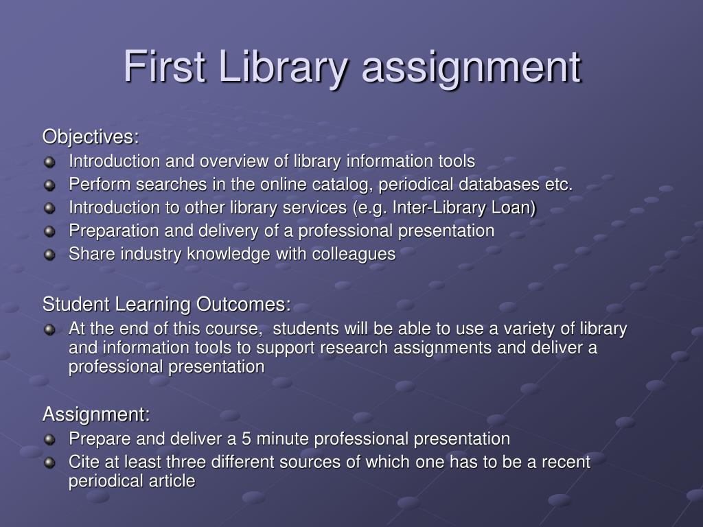First Library assignment