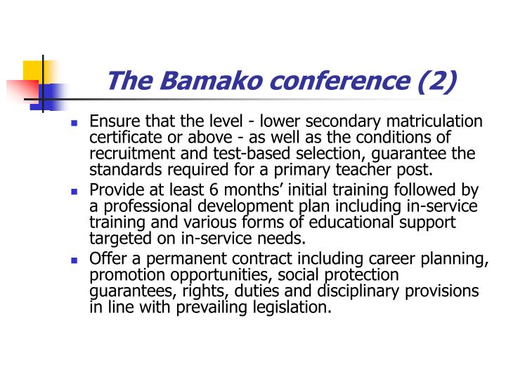 The Bamako conference (2)