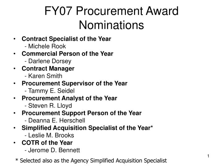 Fy07 procurement award nominations