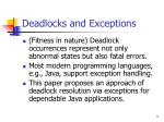 deadlocks and exceptions