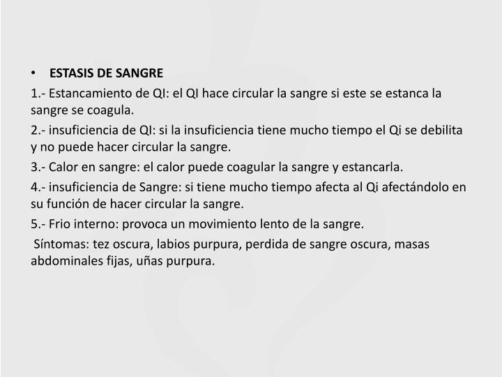 ESTASIS DE SANGRE