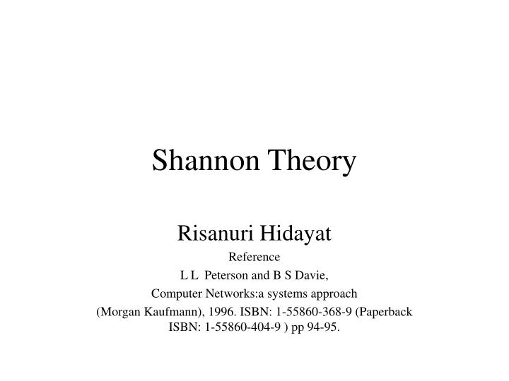 shannon theory n.