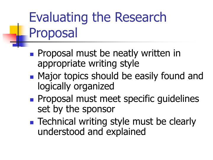 Evaluating the Research Proposal