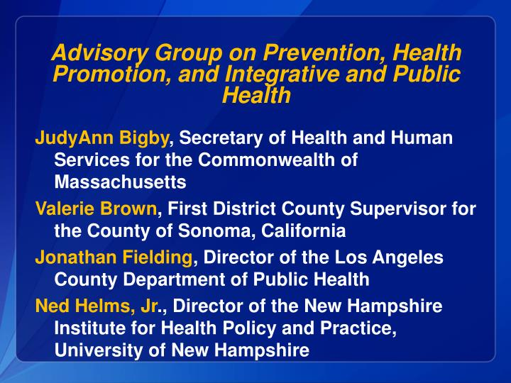 Advisory Group on Prevention, Health Promotion, and Integrative and Public Health