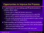opportunities to improve the process