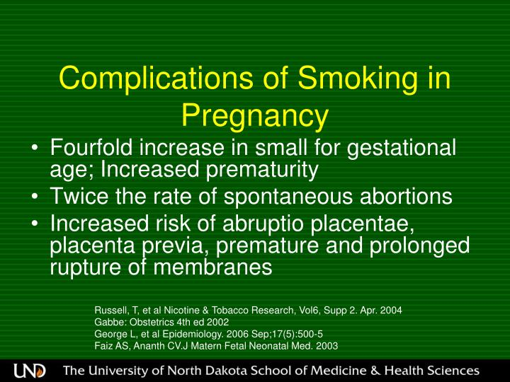 Complications of Smoking in Pregnancy