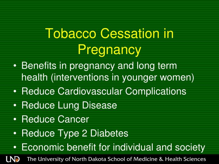 Tobacco Cessation in Pregnancy