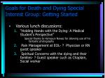 goals for death and dying special interest group getting started