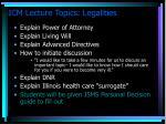 icm lecture topics legalities