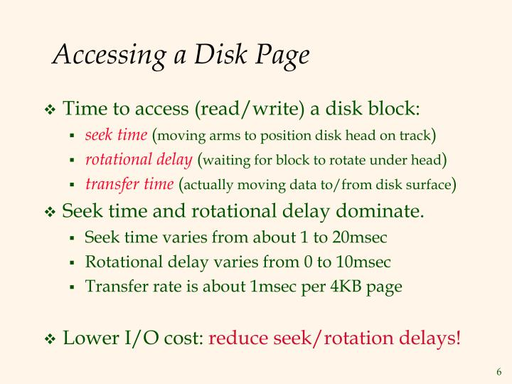 Accessing a Disk Page