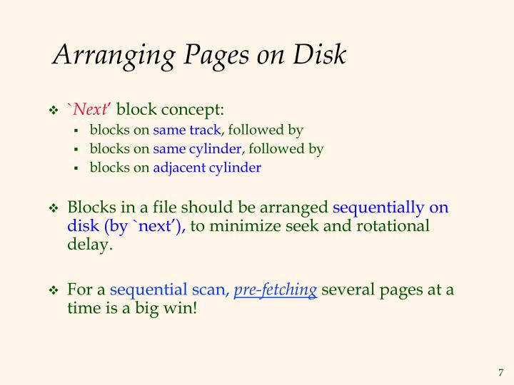 Arranging Pages on Disk