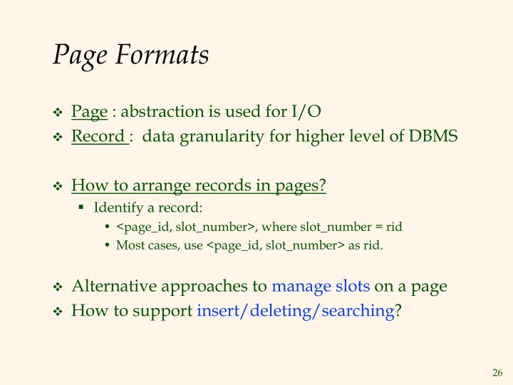 Page Formats
