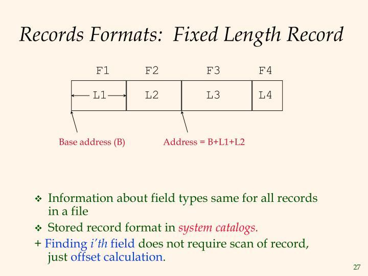 Records Formats:  Fixed Length Record