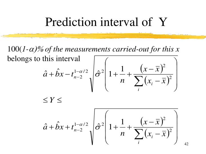 Prediction interval of  Y