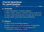 crucial questions for participation
