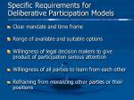 specific requirements for deliberative participation models