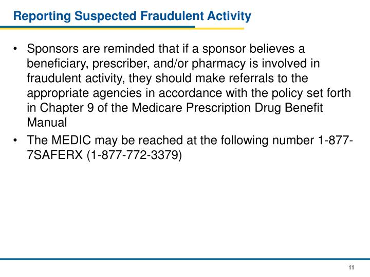 Reporting Suspected Fraudulent Activity
