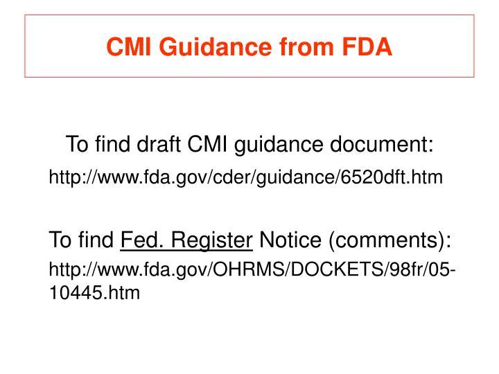 CMI Guidance from FDA