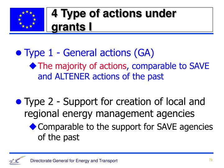4 Type of actions under grants I