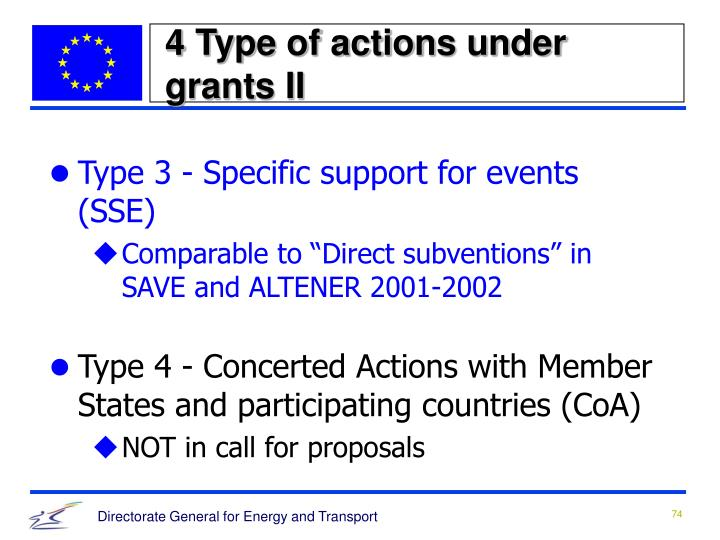 4 Type of actions under grants II