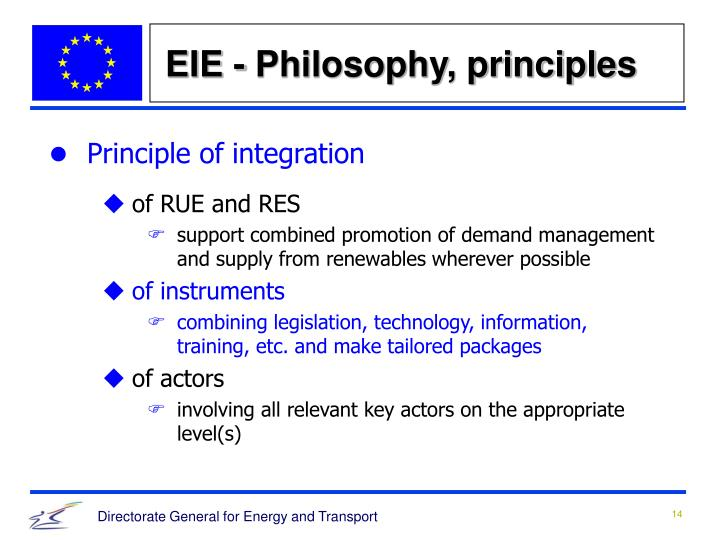 EIE - Philosophy, principles