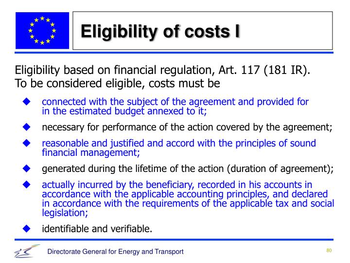 Eligibility of costs I