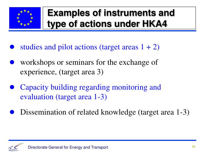 Examples of instruments and type of actions under HKA4