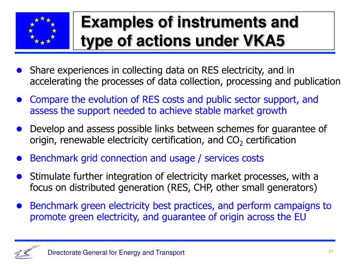 Examples of instruments and type of actions under VKA5