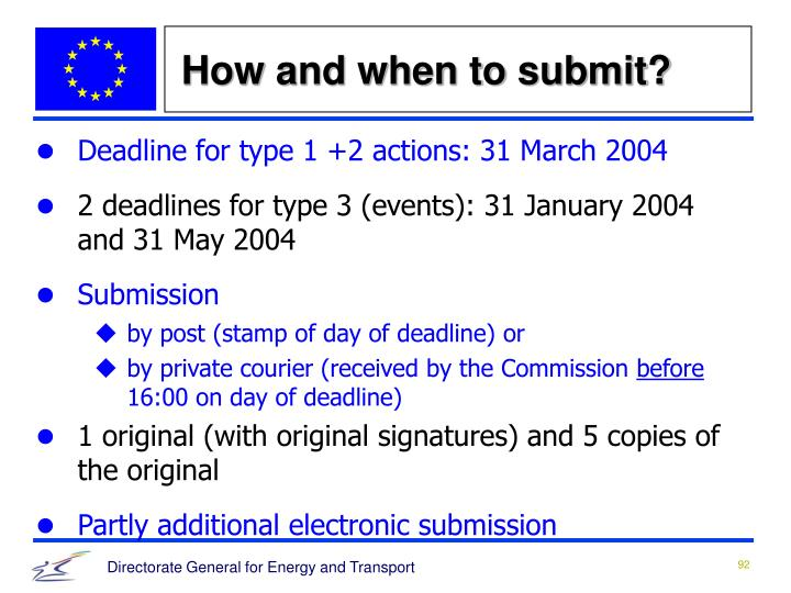 How and when to submit?