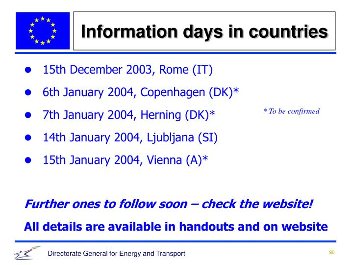 Information days in countries