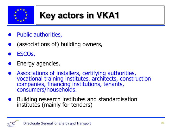 Key actors in VKA1