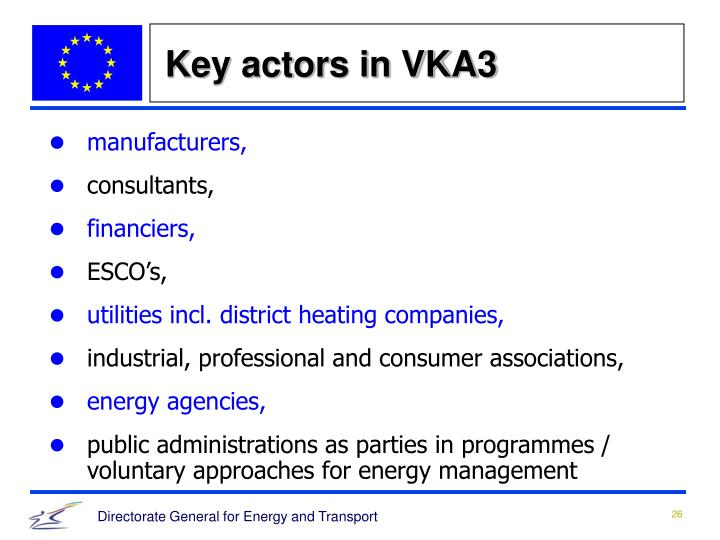 Key actors in VKA3