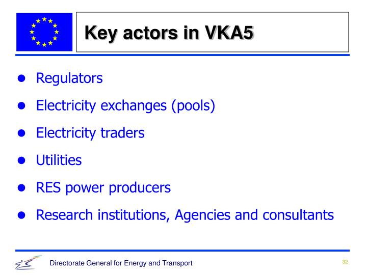 Key actors in VKA5