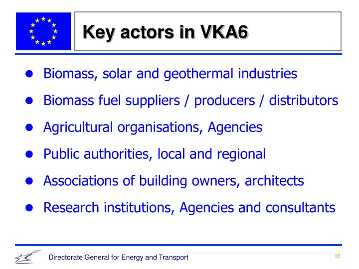 Key actors in VKA6