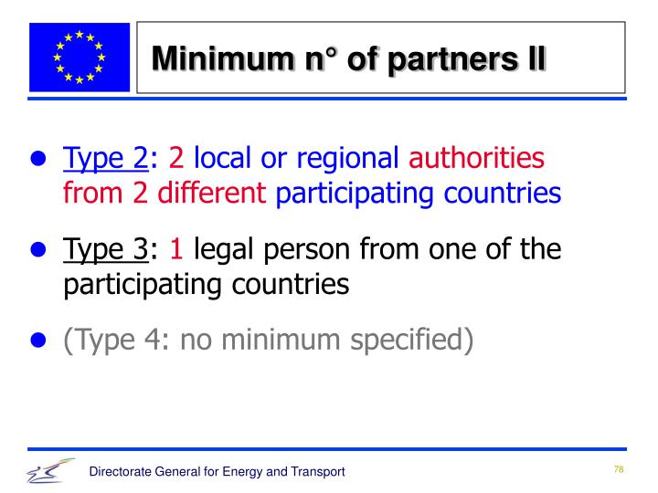 Minimum n° of partners II