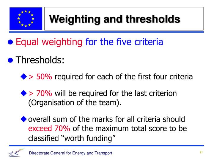 Weighting and thresholds