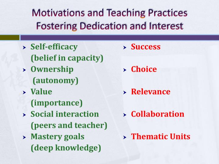 Motivations and Teaching Practices Fostering Dedication and Interest