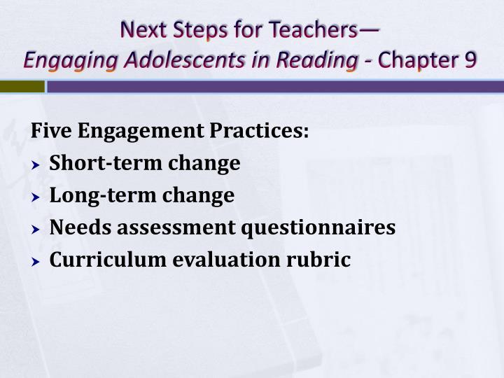 Next Steps for Teachers—