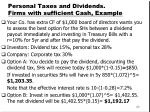 personal taxes and dividends firms with sufficient cash example