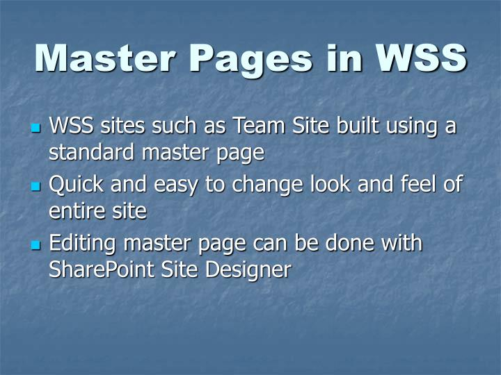 Master Pages in WSS
