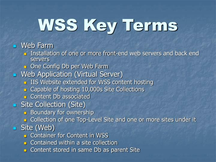 WSS Key Terms