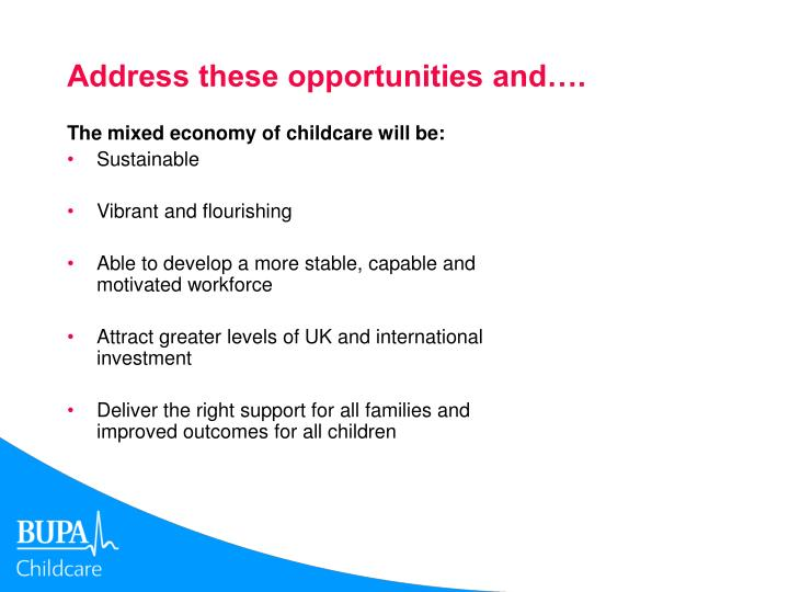 Address these opportunities and….
