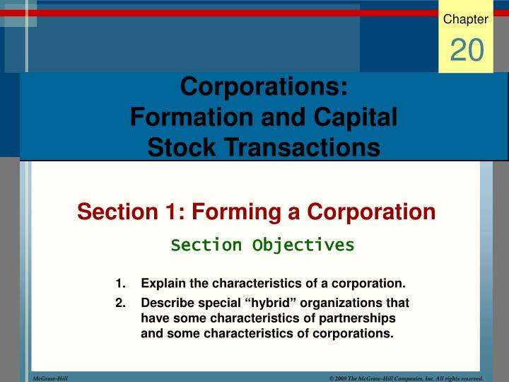 Corporations formation and capital stock transactions