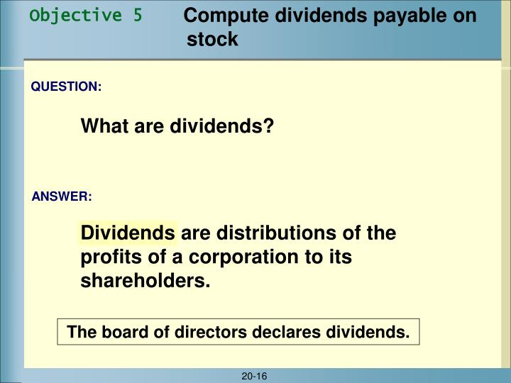 Compute dividends payable on stock