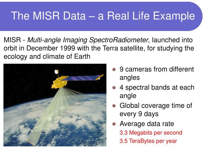The MISR Data – a Real Life Example