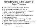 considerations in the design of fiscal transfers