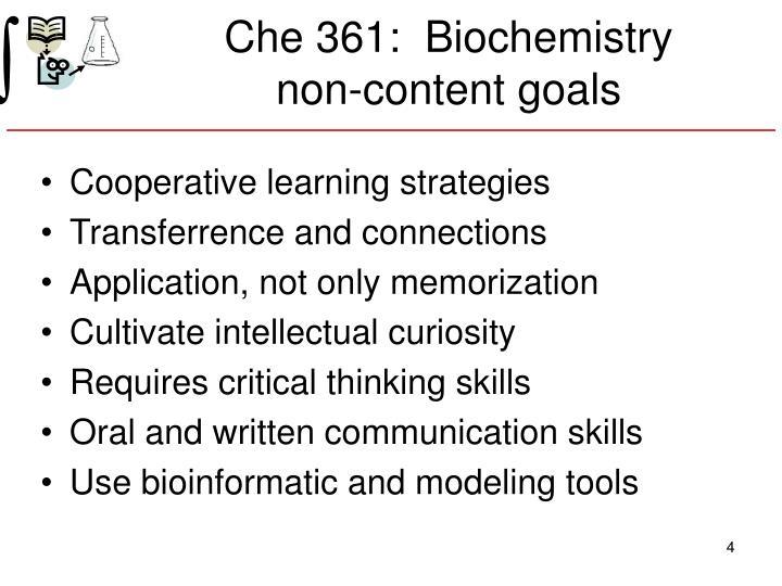 Che 361:  Biochemistry