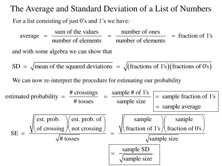 The Average and Standard Deviation of a List of Numbers
