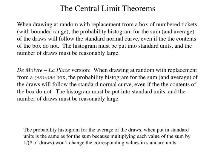 The Central Limit Theorems