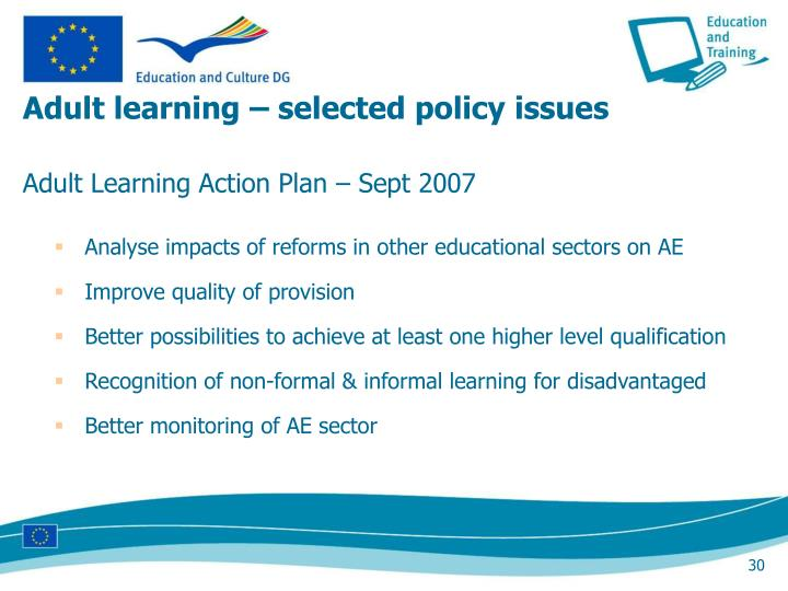 Adult learning – selected policy issues